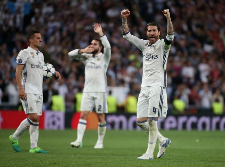 Football Soccer - Real Madrid v Bayern Munich - UEFA Champions League Quarter Final Second Leg - Estadio Santiago Bernabeu, Madrid, Spain - 18/4/17 Real Madrid's Sergio Ramos celebrates after the match  Reuters / Sergio Perez Livepic/File Photo