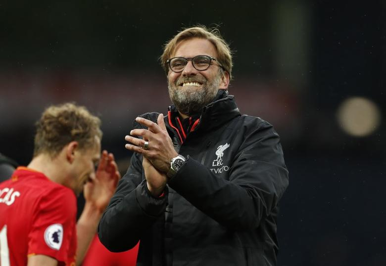 Britain Soccer Football - West Bromwich Albion v Liverpool - Premier League - The Hawthorns - 16/4/17 Liverpool manager Juergen Klopp applauds fans after the match  Action Images via Reuters / John Sibley Livepic