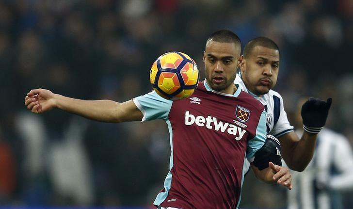 Britain Soccer Football - West Ham United v West Bromwich Albion - Premier League - London Stadium - 11/2/17 West Ham United's Winston Reid in action with West Bromwich Albion's Salomon Rondon  Reuters / Peter Nicholls Livepic/Files