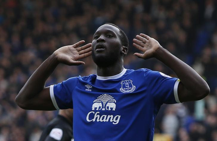 Britain Soccer Football - Everton v Burnley - Premier League - Goodison Park - 15/4/17 Everton's Romelu Lukaku celebrates scoring their third goal  Reuters / Andrew Yates Livepic
