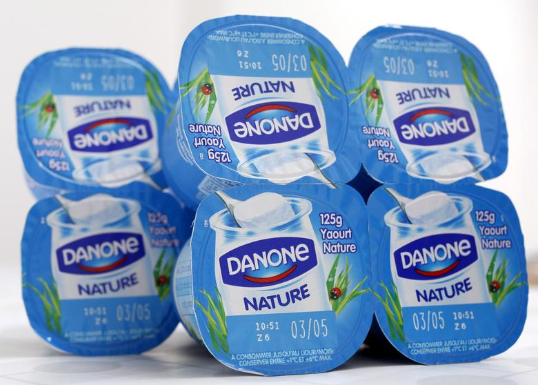 FILE PHOTO: Yoghurt by French foods group Danone are seen in this photo illustration shot in Strasbourg, April 15, 2015.   REUTERS/Vincent Kessler/File Photo