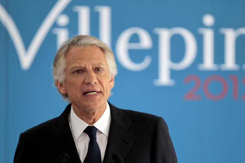 FILE PHOTO: Dominique de Villepin makes a statement as part of his New Year's wishes to the media January 16, 2012 in Paris. REUTERS/Charles Platiau