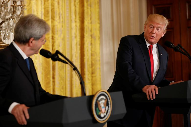 U.S. President Donald Trump holds a joint news conference with Italian Prime Minister Paolo Gentiloni at the White House in Washington, U.S., April 20, 2017. REUTERS/Aaron P. Bernstein