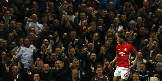 Britain Football Soccer - Manchester United v RSC Anderlecht - UEFA Europa League Quarter Final Second Leg - Old Trafford, Manchester, England - 20/4/17 Manchester United's Marcus Rashford celebrates scoring their second goal  Action Images via Reuters / Jason Cairnduff Livepic