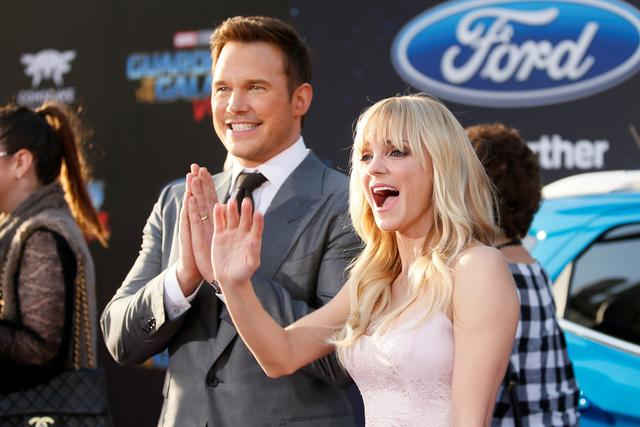 Actors Chris Pratt (L) and wife Anna Faris pose at the world premiere of Marvel Studios' ''Guardians of the Galaxy Vol. 2'' in Hollywood, California. REUTERS/Danny Moloshok