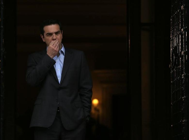 Greek Prime Minister Alexis Tsipras reacts before his meeting with German Foreign Minister Frank-Walter Steinmeier at his office in Maximos Mansion in Athens, Greece, April 7, 2017.  REUTERS/Alkis Konstantinidis TPX IMAGES OF THE DAY - RTX34LCI