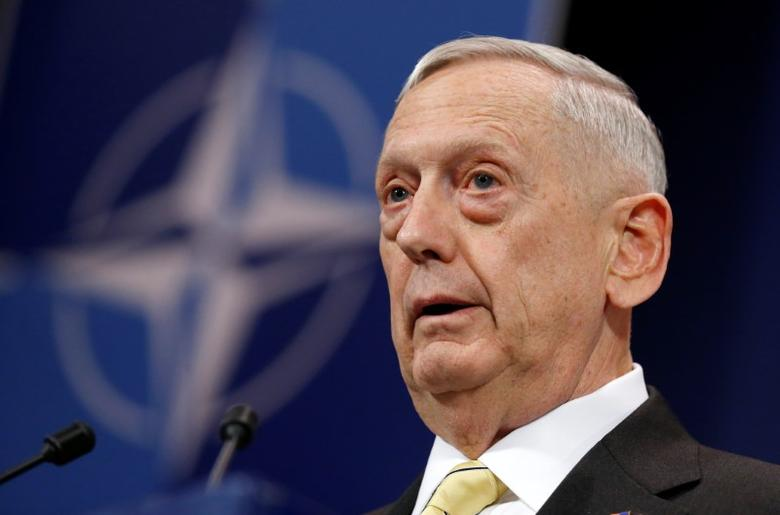 U.S. Defense Secretary Jim Mattis addresses a news conference during a NATO defence ministers meeting at the Alliance headquarters in Brussels, Belgium, February 16, 2017. REUTERS/Francois Lenoir/Files