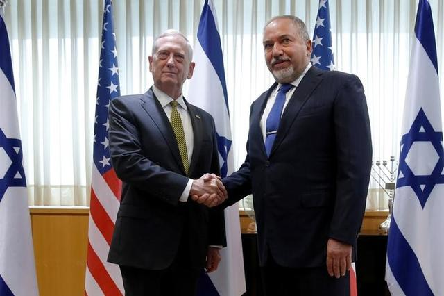 Israel's Minister of Defense Avigdor Lieberman (R) welcomes U.S. Defense Secretary James Mattis for a meeting in his office at the Ministry of Defense in Tel Aviv, Israel, April 21, 2017. REUTERS/Jonathan Ernst