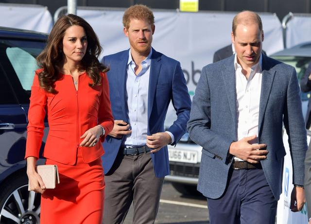 FILE PHOTO: Britain's Prince William, Prince Harry and Catherine, the Duchess of Cambridge, arrive to open the Global Academy, a state school funded by a broadcasting group to train young people for careers in the media industry, in Hayes, near London, April 20, 2017. REUTERS/Dominic Lipinski/Pool