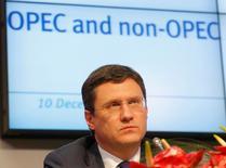 وزير الطاقة الروسي ألكسندر نوفاك خلال مؤتمر صحفي في فيينا يوم العاشر من ديسمبر كانون الاول 2016. تصوير: هاينز بيتر بادر - رويترز