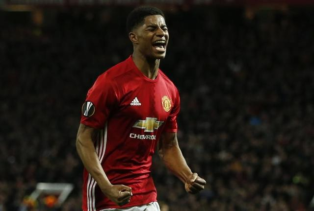 Britain Football Soccer - Manchester United v RSC Anderlecht - UEFA Europa League Quarter Final Second Leg - Old Trafford, Manchester, England - 20/4/17 Manchester United's Marcus Rashford celebrates scoring their second goal  Reuters / Andrew Yates Livepic