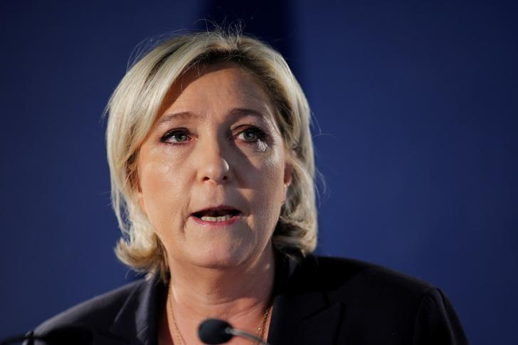 Marine Le Pen, French National Front (FN) political party leader and candidate for the French 2017 presidential election, attends a news conference in Paris, France, April 21, 2017. REUTERS/Benoit Tessier