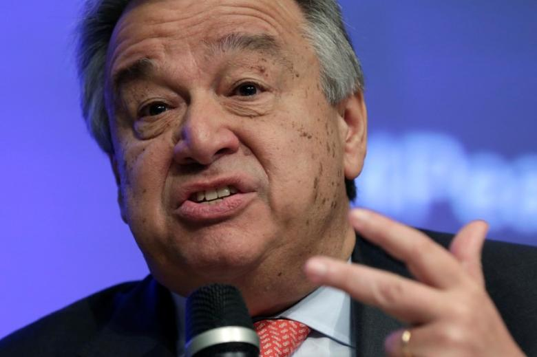 United Nations Secretary General Antonio Guterres speaks at Financing for Peace: Innovations to Tackle Fragility session during the IMF/World Bank spring meetings in Washington, U.S., April 21, 2017. REUTERS/Yuri Gripas