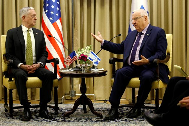 Israel's President Reuven Rivlin (R) welcomes U.S. Defense Secretary James Mattis in Jerusalem April 21, 2017. REUTERS/Jonathan Ernst