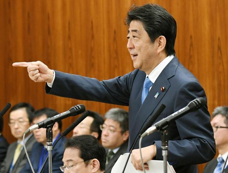 Japan's Prime Minister Shinzo Abe speaks during an upper house panel session at the Parliament in Tokyo, Japan, in this photo taken by Kyodo April 13, 2017. Mandatory credit Kyodo/via REUTERS