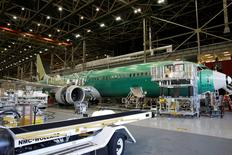 FILE PHOTO: Boeing's new 737 MAX-9 is pictured under construction at their production facility in Renton, Washington, U.S., February 13, 2017. Picture taken February 13, 2017. REUTERS/Jason Redmond/File Photo