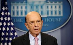 U.S. Commerce Secretary Wilbur Ross speaks about new tariffs on Canadian softwood lumber from the White House in Washington, U.S. April 25, 2017.  REUTERS/Kevin Lamarque