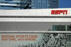 ESPN logo and building are shown in down town Los Angeles, California, U.S., March 6, 2017.    REUTERS/Mike Blake