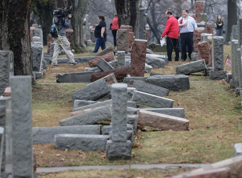 DAY 33 / FEBRUARY 21: President Donald Trump delivered his first public condemnation of anti-Semitic incidents in the United States after a new spate of bomb threats to Jewish community centers and the vandalism of about 170 headstones in a Jewish cemetery in St. Louis (above).REUTERS/Tom Gannam