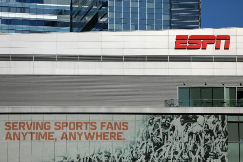 ESPN logo and building are shown in down town Los Angeles, California, U.S., March 6, 2017.    REUTERS/Mike Blake/File Photo