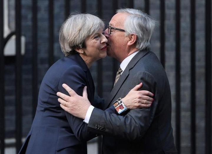Britain's Prime Minister Theresa May welcomes Head of the European...