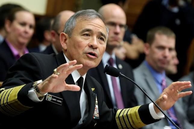 The Commander of the U.S. Pacific Command, Admiral Harry Harris, testifies before a House Armed Services Committee hearing on ''Military Assessment of the Security Challenges in the Indo-Asia-Pacific Region'' on Capitol Hill in Washington, U.S, April 26, 2017. REUTERS/Yuri Gripas