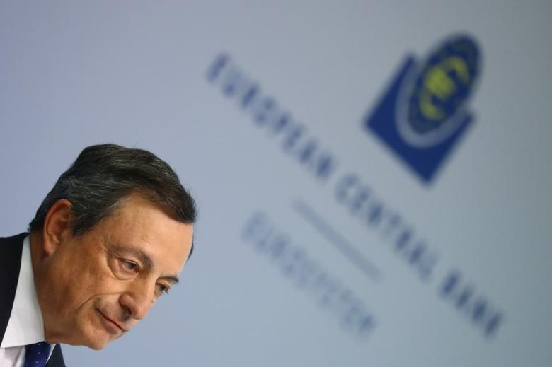 European Central Bank (ECB) President Mario Draghi arrives for a news conference at the ECB headquarters in Frankfurt, Germany, April 27, 2017.     REUTERS/Kai Pfaffenbach