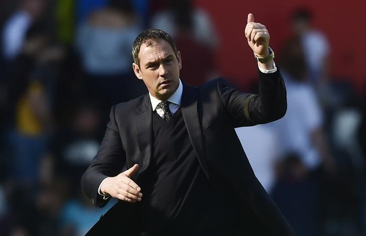 Britain Soccer Football - Swansea City v Stoke City - Premier League - Liberty Stadium - 22/4/17 Swansea City manager Paul Clement celebrates at the end of the match Reuters / Rebecca Naden Livepic