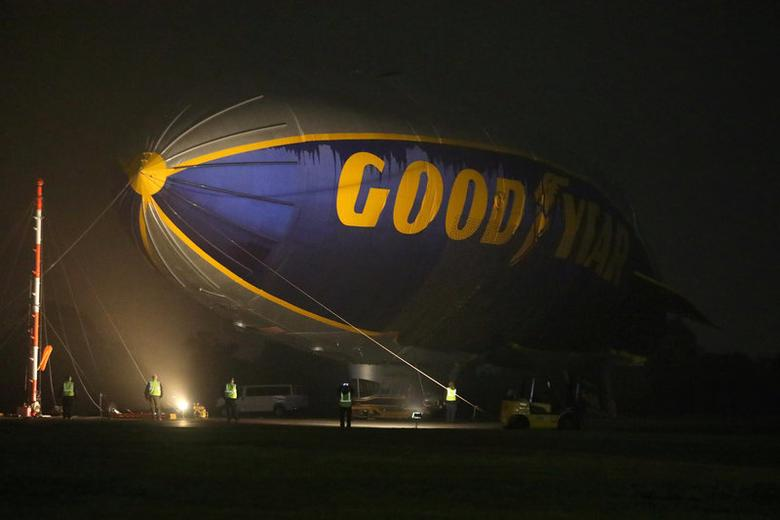 FILE PHOTO: The ''Spirit of Innovation'', the last of Goodyear's GZ-20 model blimps, is decommissioned in Carson, California, U.S. March 14, 2017. REUTERS/Mike Blake/File Photo