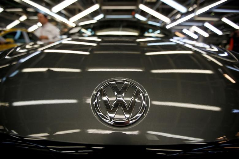 The logo of Volkswagen company is seen on a car on an assembly line at the Volkswagen car factory in Palmela, Portugal, December 9, 2016.   REUTERS/Rafael Marchante/File Photo