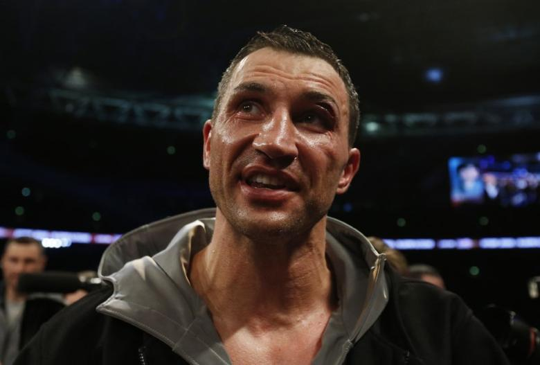 Britain Boxing - Anthony Joshua v Wladimir Klitschko IBF, IBO & WBA Super World Heavyweight Title's - Wembley Stadium, London, England - 29/4/17 Wladimir Klitschko speaks to the fans after the fight Action Images via Reuters / Andrew Couldridge Livepic