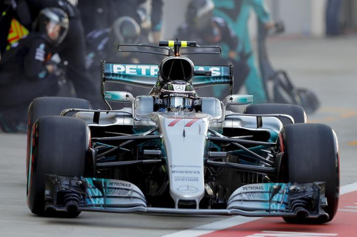 Formula One - F1 - Russian Grand Prix - Sochi, Russia - 30/04/17 - Mercedes Formula One driver Valtteri Bottas of Finland drives in the pit lane during the race. REUTERS/Valdrin Xhemaj/Pool
