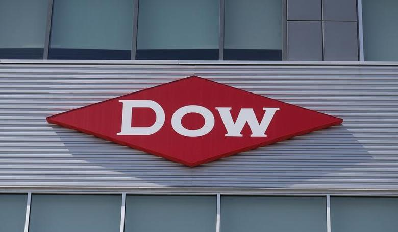 The Dow logo is seen on a building in downtown Midland, Michigan, in this May 14, 2015 file photograph.  REUTERS/Rebecca Cook