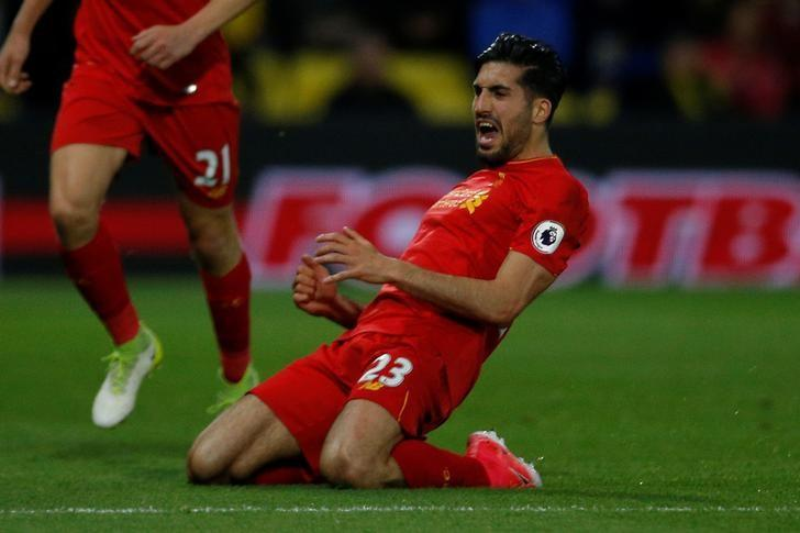 Britain Football Soccer - Watford v Liverpool - Premier League - Vicarage Road - 1/5/17 Liverpool's Emre Can celebrates scoring their first goal Action Images via Reuters / Andrew Couldridge Livepic/Files
