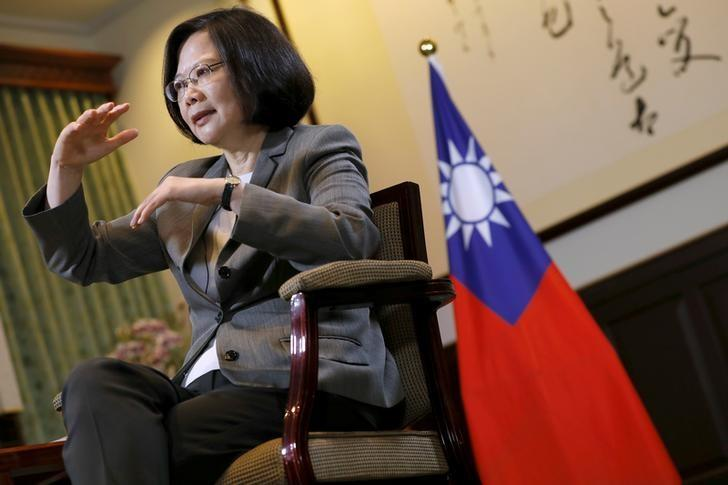 Taiwan President Tsai Ing-wen reacts during an interview with Reuters at the Presidential Office in Taipei, Taiwan April 27, 2017. REUTERS/Tyrone Siu