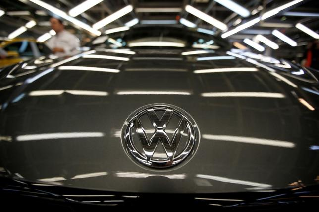 FILE PHOTO: The logo of Volkswagen company is seen on a car on an assembly line at the Volkswagen car factory in Palmela, Portugal, December 9, 2016.   REUTERS/Rafael Marchante/File Photo