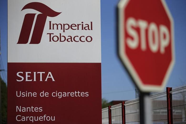 View of a sign outside the Imperial Tobacco Seita cigarette plant in Carquefou, near Nantes, April 15, 2014.   REUTERS/Stephane Mahe