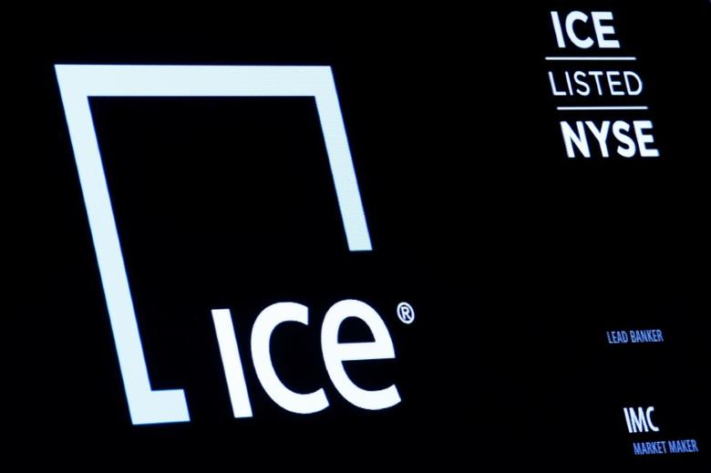 FILE PHOTO: A screen displays the logo and ticker symbol for Intercontinental Exchange, Inc. on the floor of the New York Stock Exchange (NYSE) in New York City, U.S., November 3, 2016.  REUTERS/Brendan McDermid