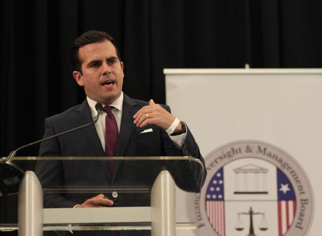Puerto Rico's Governor Ricardo Rossello addresses the audience during a meeting of the Financial Oversight and Management Board for Puerto Rico at the Convention Center in San Juan, Puerto Rico March 31, 2017. REUTERS/Alvin Baez