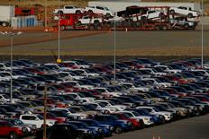 Newly assembled vehicles are seen at a stockyard of the automobile plant Toyota Motor Manufacturing of Baja California in Tijuana, Mexico, April 30, 2017. Picture taken April 30, 2017. REUTERS/Jorge Duenes