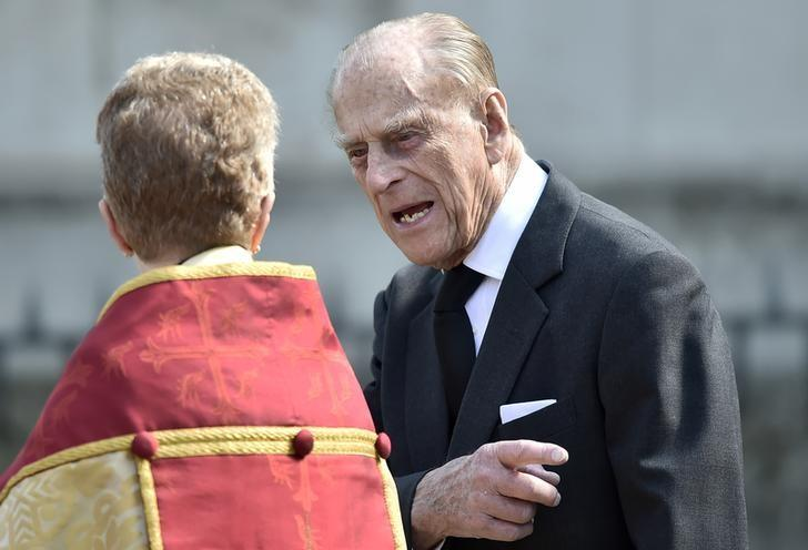 Britain's Prince Philip leaves a Service of Thanksgiving for the life and work of Lord Snowdon at Westminster Abbey in London, Britain, April 7, 2017. REUTERS/Hannah McKay/Files