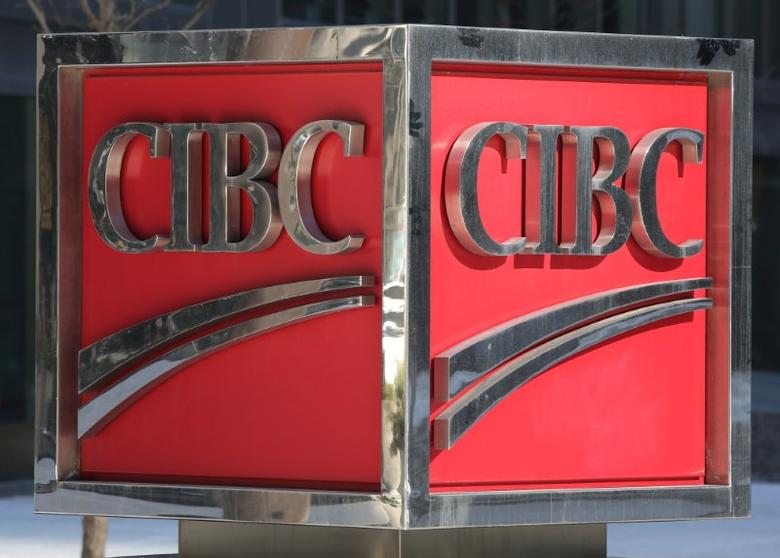 FILE PHOTO: The Canadian Imperial Bank of Commerce (CIBC) logo is seen outside their Bay Street headquarters in Toronto, Ontario, Canada March 16, 2017. REUTERS/Chris Helgren