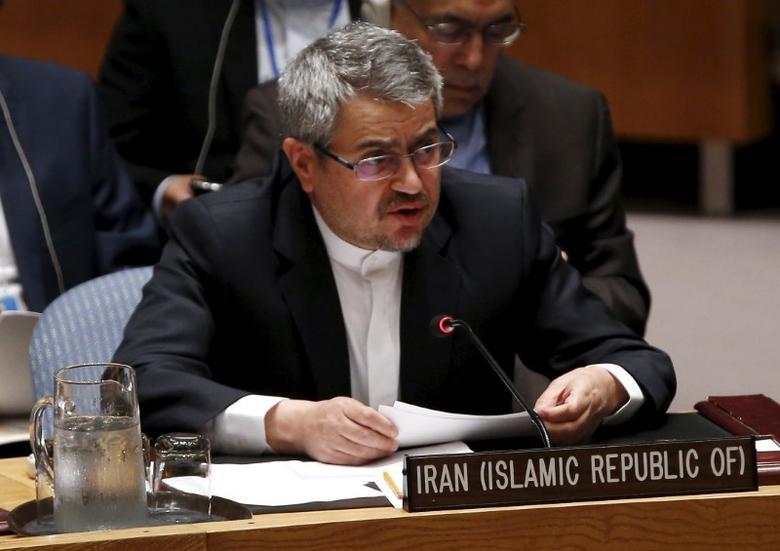 Iran's United Nations (U.N.) Ambassador Gholamali Khoshroo speaks at a United Nations Security Council meeting at the U.N. headquarters in New York, July 20, 2015. REUTERS/Mike Segar
