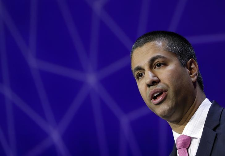 Ajit Pai, Chairman of U.S Federal Communications Commission, delivers his keynote speech at Mobile World Congress in Barcelona, Spain, February 28, 2017. REUTERS/Eric Gaillard/File Photo