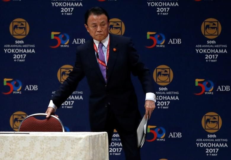Japanese Deputy Prime Minister and Finance Minister Taro Aso attends at opening session of the ADB annual meeting in Yokohama, south of Tokyo, Japan May 6, 2017. REUTERS/Issei Kato