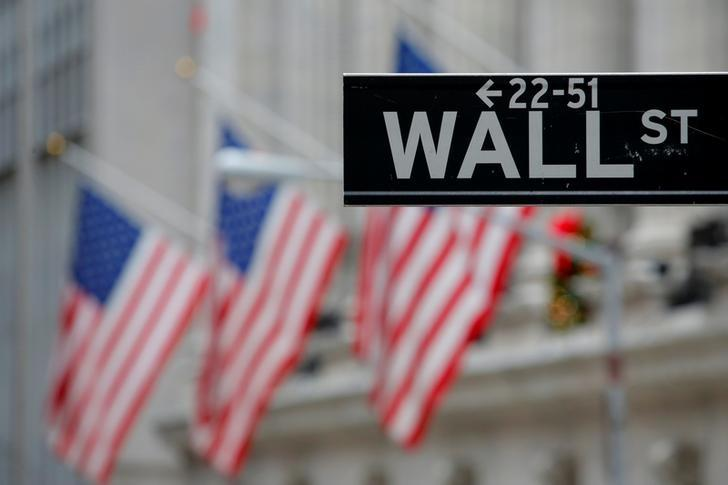 FILE PHOTO: A street sign for Wall Street is seen outside the New York Stock Exchange (NYSE) in Manhattan, New York City, U.S. December 28, 2016. REUTERS/Andrew Kelly