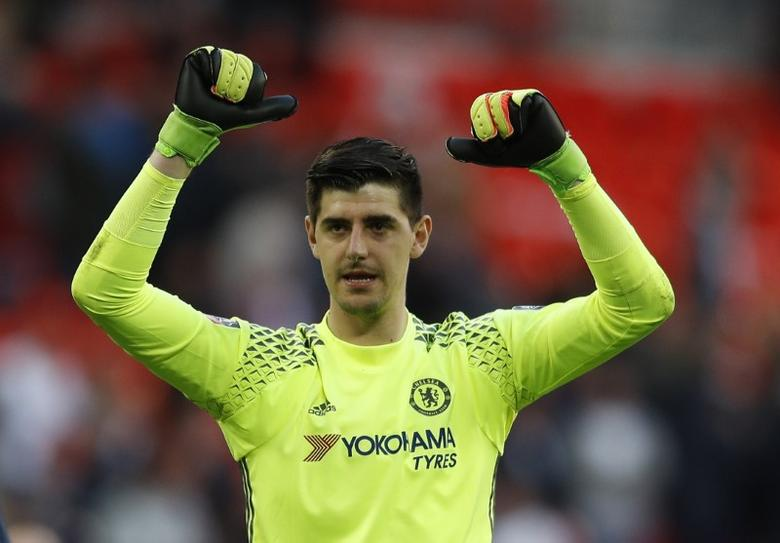 Britain Soccer Football - Tottenham Hotspur v Chelsea - FA Cup Semi Final - Wembley Stadium - 22/4/17 Chelsea's Thibaut Courtois celebrates after the match  Reuters / Peter Nicholls Livepic