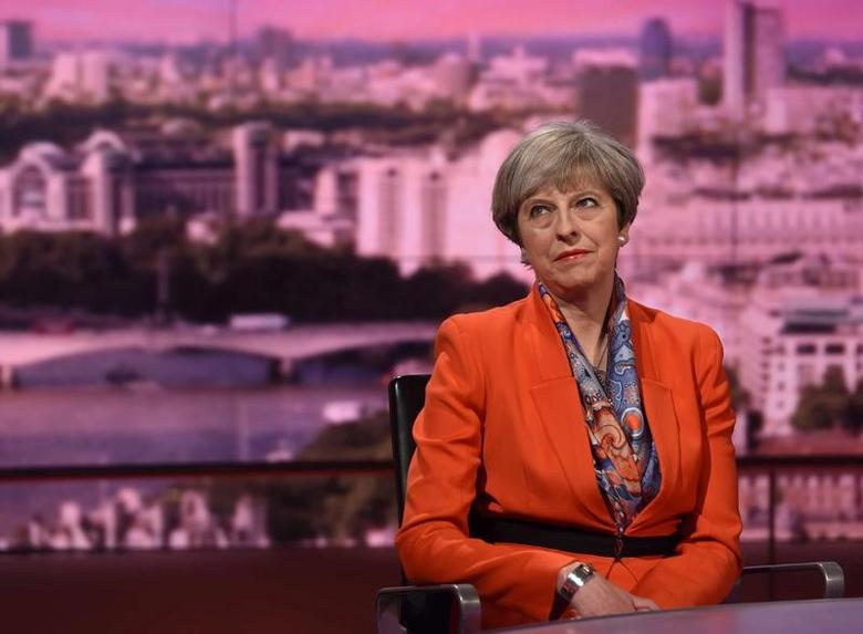 Britain's Prime Minister Theresa May attends the BBC's Marr Show in London, Britain April 30, 2017. Jeff Overs/BBC Handout via REUTERS