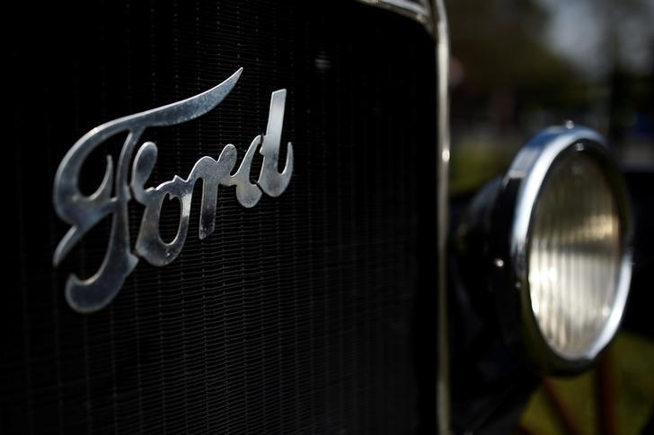 A Ford logo is seen on a vintage car near Henry Ford's ancestral home in Ballinascarthy, Ireland April 20, 2017. REUTERS/Clodagh Kilcoyne/Files