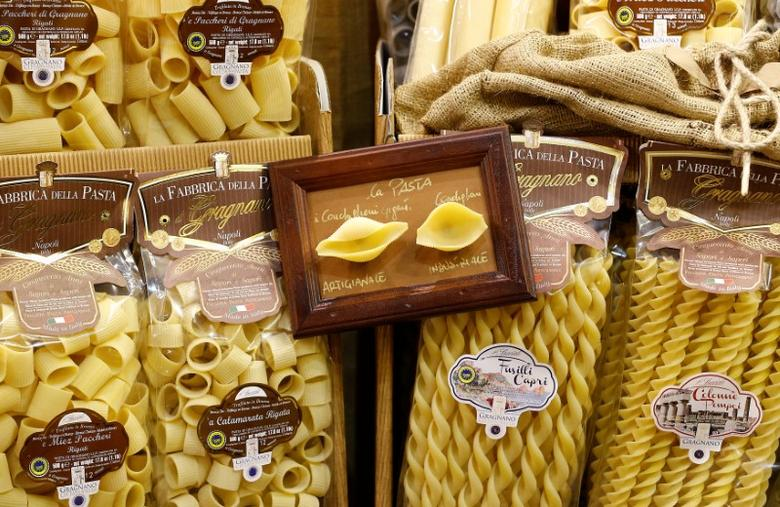 Different type of Gragnano's artisan pasta are seen at the 50th Vinitaly international wine and spirits exhibition in Verona, northern Italy, April 12, 2016. REUTERS/Stefano Rellandini